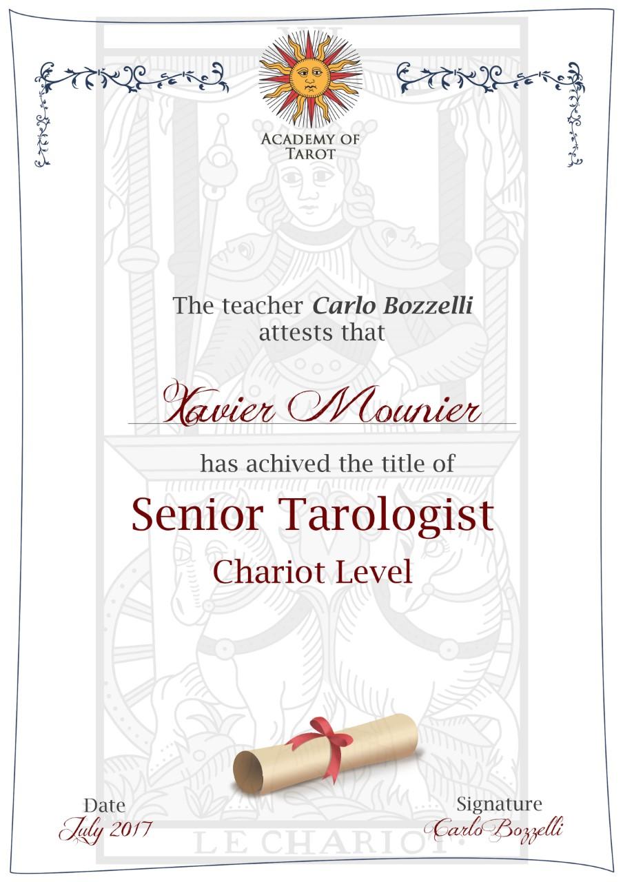 Certificate Tarotlogist Senior